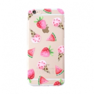 Smartphonehoesjes voor iPhone 6 Plus icecream & fruit Transparent-pink green