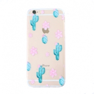 Smartphonehoesjes voor iPhone 6 cactus & flowers Transparent-blue pink