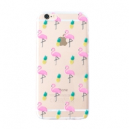 Smartphonehoesjes voor iPhone 5 flamingo & pineapple Transparent-yellow pink