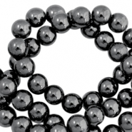 Kralen hematite rond 4mm Anthracite grey