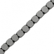 Kralen hematite cube 4mm mat Anthracite grey