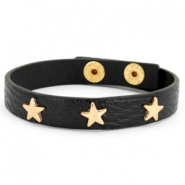 Armband met studs gold star Black