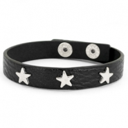 Armband met studs silver star Black
