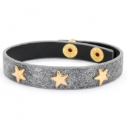Armband reptile met studs gold star Anthracite grey