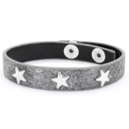 Armband reptile met studs silver star Anthracite grey