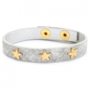 Armband reptile met studs gold star Light grey