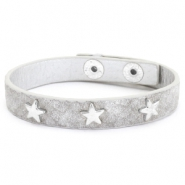 Armband reptile met studs silver star Light grey
