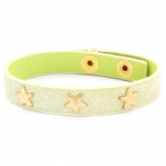 Armband reptile met studs gold star Pastel yellow green