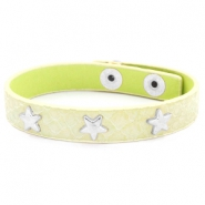Armband reptile met studs silver star Pastel yellow green