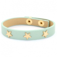 Armband met studs gold star Green-gray mist