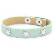 Armband met studs silver star Green-gray mist
