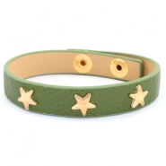 Armband met studs gold star Army green