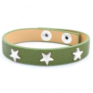 Armband met studs silver star Army green