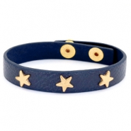 Armband met studs gold star Dark denim blue