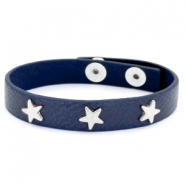 Armband met studs silver star Dark denim blue