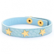 Armband reptile met studs gold star Light blue
