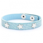 Armband reptile met studs silver star Light blue