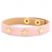 Armband reptile met studs gold star Dusty pink