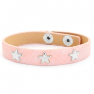 Armband reptile met studs silver star Dusty pink