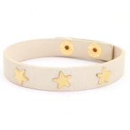 Armband met studs gold star Taupe beige
