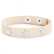 Armband met studs silver star Taupe beige