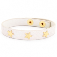Armband reptile met studs gold star Creamy white
