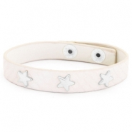 Armband reptile met studs silver star Creamy white