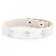 Armband reptile met studs silver star Off white