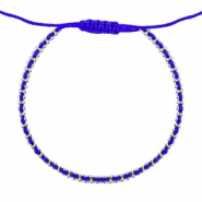 Ibiza look armbandje Royal blue-silver