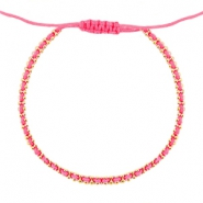 Ibiza look armbandje Hot pink-gold