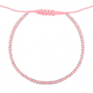 Ibiza look armbandje Light coral rose-silver