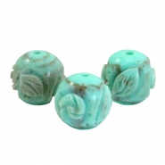Acryl DQ carved Polaris kralen 14mm rond Turquoise