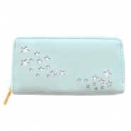 Hippe portemonnees imi leer silver little stars Mint green