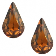 Swarovski Elements vormen divers 4328-10x6mm druppel gold foiled Smoked topaz