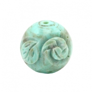Acryl DQ carved Polaris kralen 20mm rond Turquoise