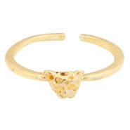 Trendy ringen met panter kop Gold