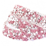 Tape van Crystal Diamond 10mm Pink silver