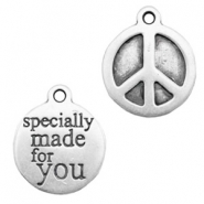 "Metaal bedels TQ peace ""specially made for you"" Antiek zilver"