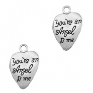 "Metaal bedels TQ hart ""You're an Angel to me"" Antiek zilver"