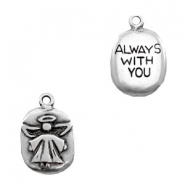 "Metaal bedels TQ engel ""Always with you"" Antiek zilver"