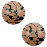 Cabochons basic stone look 12mm Sand brown-black