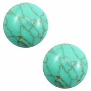Cabochons basic stone look 12mm Turquoise green-brown