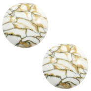 Cabochons basic stone look 20mm White-brown black