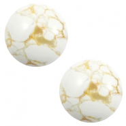 Cabochons basic stone look 12mm White-beige brown