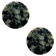 Cabochons basic plat stone look 20mm Black-green