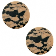 Cabochons basic plat stone look 12mm Sand brown-black