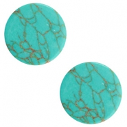 Cabochons basic plat stone look 12mm Light turquoise-brown