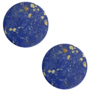 Cabochons basic plat stone look 12mm Blue-gold