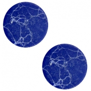 Cabochons basic plat stone look 20mm Blue-white