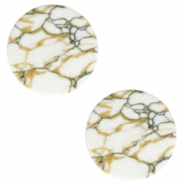 Cabochons basic plat stone look 12mm White-brown black